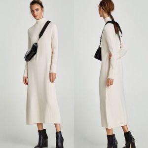 Zara Knit White Ribbed Thick Sweater Midi Dress